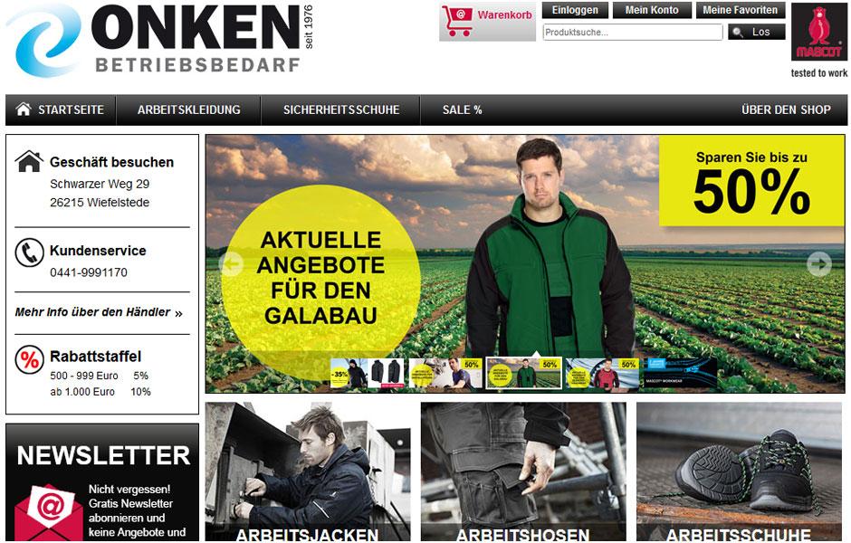 Bild der startseite des Onken Mascot Bekleidungs-Onlineshop mit Link zu diesem