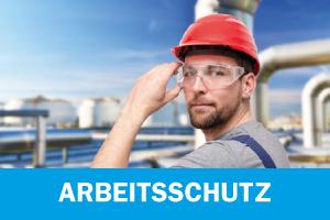 Bild mit einem Mann der einen Helm und eine Schutzbrille trägt. Verlinkung zur Kategorie Arbeitsschutz